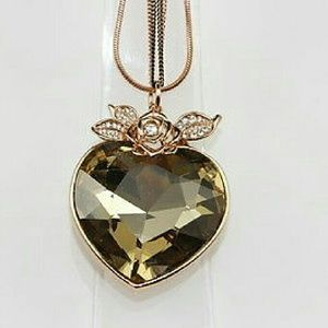 Heart Flower 3 Chains Gold Plated Pendant Necklace