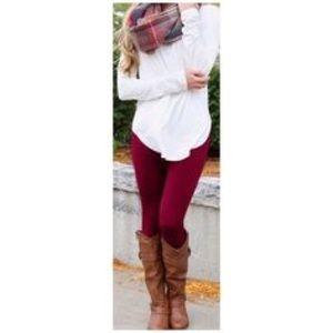 Burgundy Fleece High Waist Legging OS