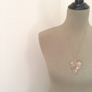 Lucite clear leaf necklace stone pendant on rope