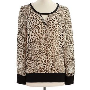 SALETwo by VINCE CAMUTO animal print sheer top