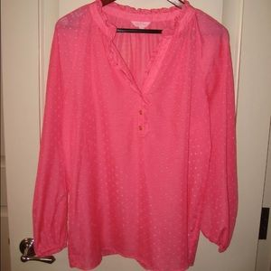 Lilly Pulitzer pink silk blouse