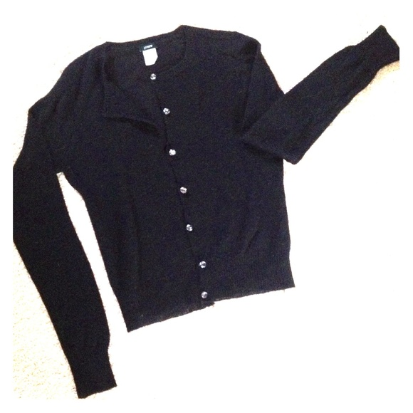 J. Crew - JCrew lightweight black cardigan, crystal buttons from ...