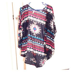 Tops - cute navy+ colorful tribal print kimono S/M