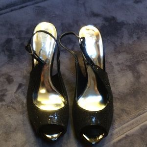 Sparkly peep toe black dressy heels