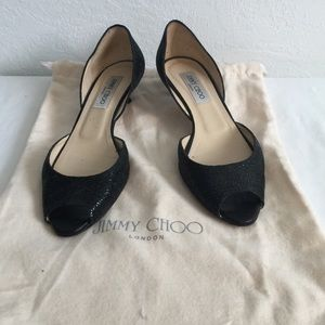 Jimmy Choo Black Glitter Peep Toe Shoes