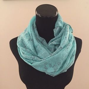 Accessories - NEW Sheer Aqua Blue with Grey Henna Pattern Scarf