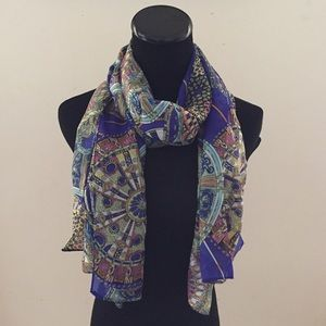 Accessories - NEW Sheer Royal Blue Abstract Chiffon Scarf