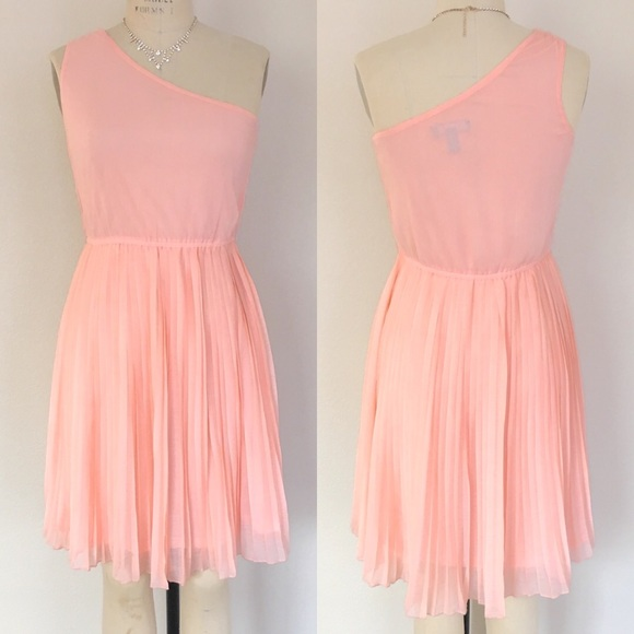 Mango One Shoulder Pleated Pink Orange Dress | Poshmark