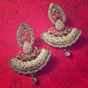 Elegant gold and silver statement earrings