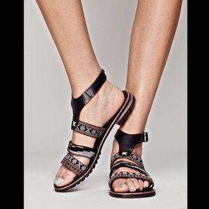 Free People black leather tapestry Balkan Sandals