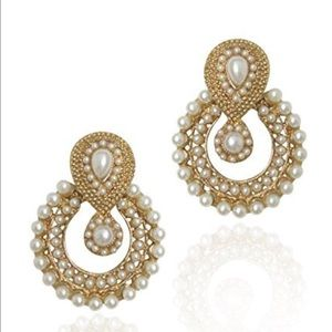 Gorgeous Bollywood earrings gold and pearl