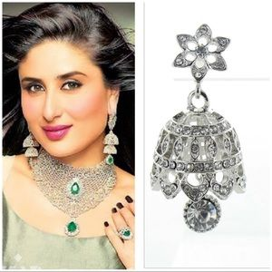 Bollywood silver bridal dome earrings