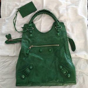 Green Balenciaga Satchel