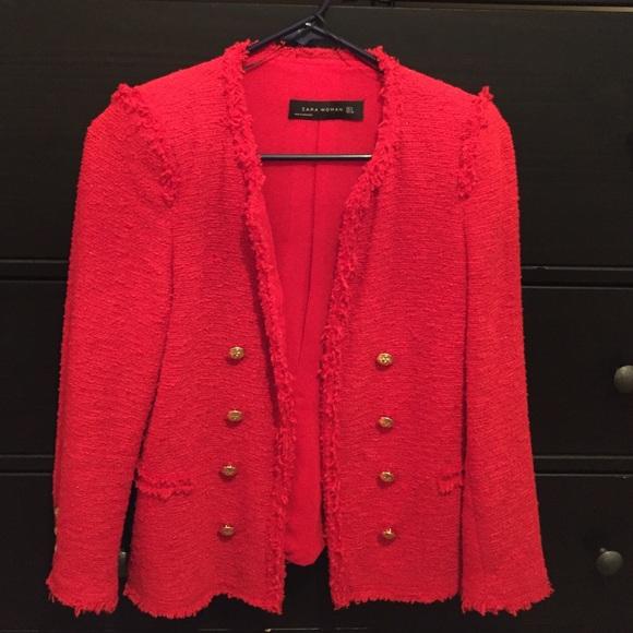 f2c05541 Zara Jackets & Coats   Red Military Style Blazer   Poshmark