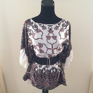 Tops - NWOT Satiny Abstract Print Belted Batwing Blouse