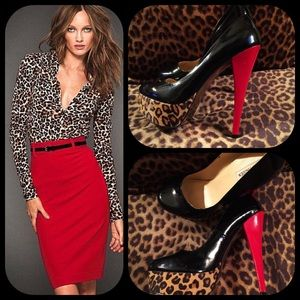 Steve Madden Shoes - Stellar black patent, red patent and leopard heels