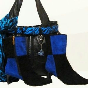 Ankle Boots Suede Blue Black size 6.5