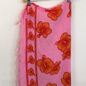 Other - Pink hawaiian tropical print scarf cover up