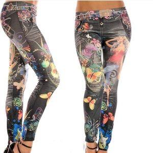 Pants - ❤️Adorable & Stretchy Tattoo Jean-look Leggings❤️
