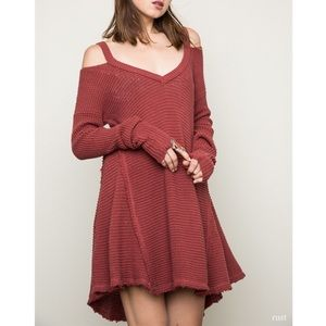 """Eternity"" Cold Shoulder Sweater Tunic Top"