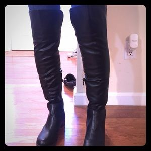 American Exchange Shoes - Over the knee flat black boot.