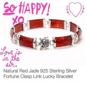 Natural Red Jade Sterling Silver Bracelet