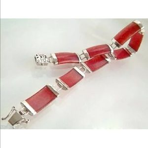 Jewelry - Natural Red Jade Sterling Silver Bracelet