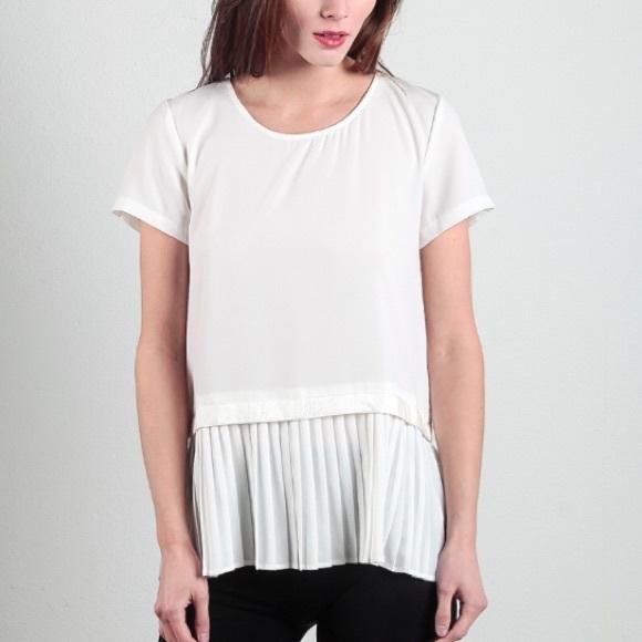 584a20c2b9646a Pleated peplum hem layer short sleeve blouse white