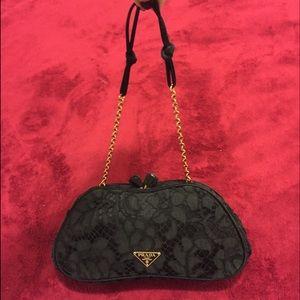 prada black clutch purse