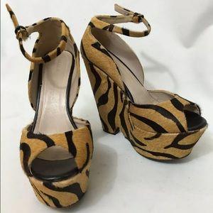Zara Shoes - Zara Rare Brown Print Heels
