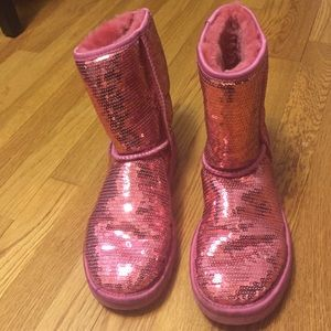 Pink Moccasins Sparkle Womens Shoes