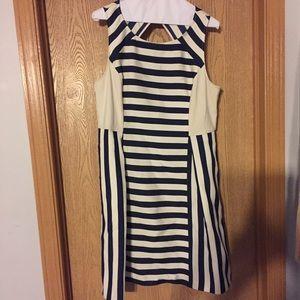 DKNY Dresses & Skirts - DKNY Navy/Beige Striped Dress, Size 14