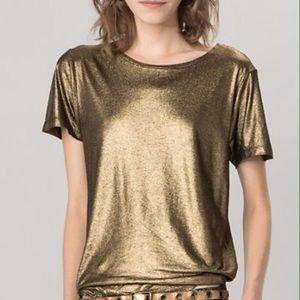 Metallic 'Liquid-Gold' Top    Maje