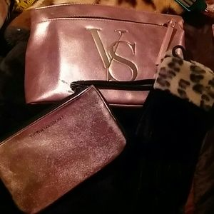 Victoria Secret. Pink bag and makeup bag & Gloves
