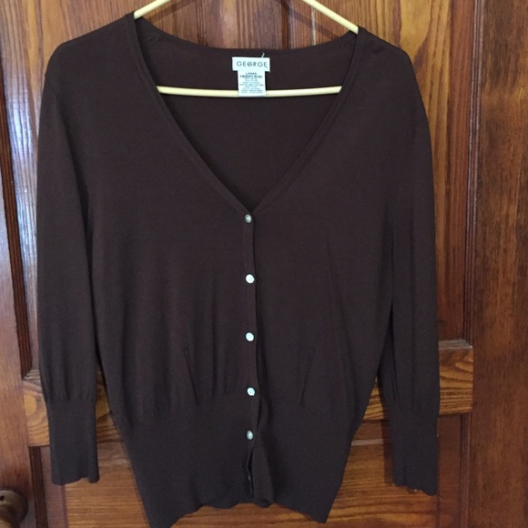 George - Chocolate brown V-neck button-down cardigan from Laura's ...