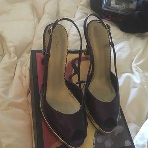 Purple and Gold Slingback Pump High Heels