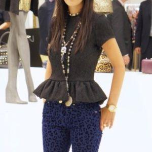 Zara Tops - Zara peplum black top W&B Collection.