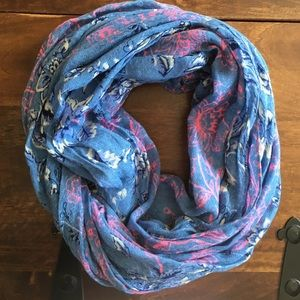 GAP Blue Scarf w/ Navy, White and Neon Pink Floral
