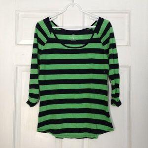 NWT Navy and Green Striped 3/4 Sleeve Tee NY&Co