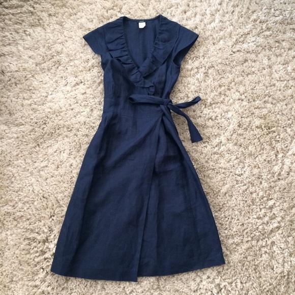 b61975fbf1 J. Crew Dresses   Skirts - J Crew 100% Linen Navy Wrap Dress