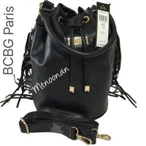 BCBG Handbags - 🎉HP🎉 BCBG Paris Black Fringe xBody Bucket Tote