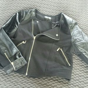Jackets & Blazers - Faux leather and knit moto jacket