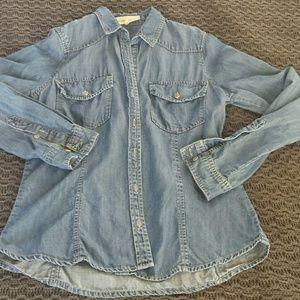 Side stitch tencel chambray shirt