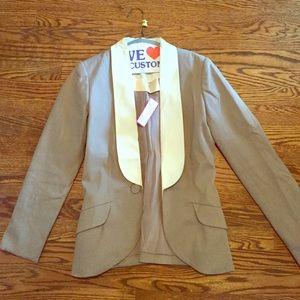 Devi Kroell Jackets & Blazers - Devi Kroell taupe w/ white leather detail blazer
