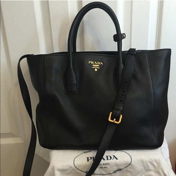 d06c43331468 Prada Bags | Sold Black Leather 2way Shopper Tote | Poshmark
