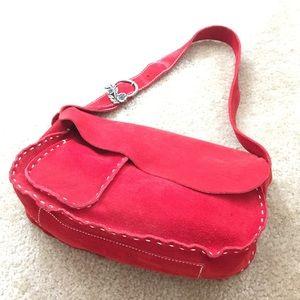 Francesco Biasia Handbags - FRANCESCO BIASIA red suede slouch shoulder bag