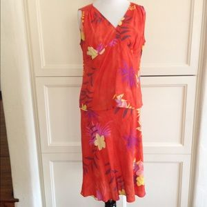 VINTAGE 2 piece orange floral top and skirt set