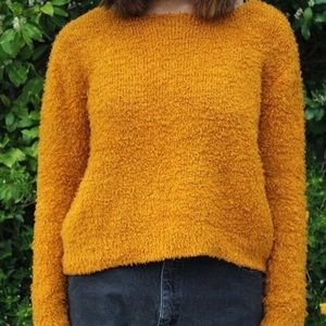 H&M burnt orange fuzzy sweater