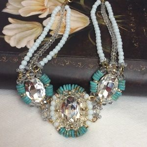 Turquoise stone crystals statement necklace new