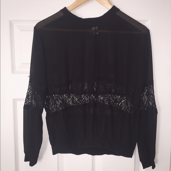 e63248dd461d17 H M Tops - H M Divided Sheer Black Lace Blouse
